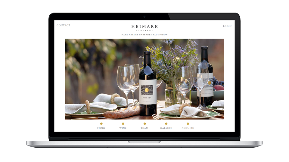 Website for Heimark Vineyard