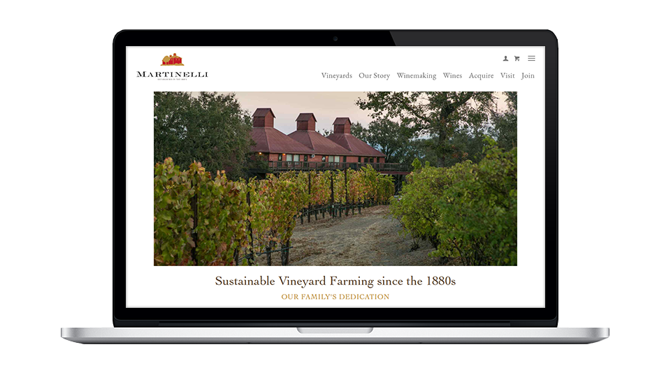 Website for Martinelli Winery