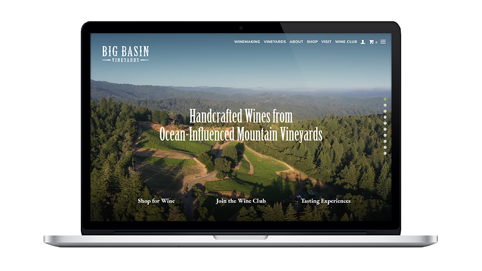 Website for Big Basin Vineyards